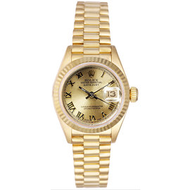Rolex President 18K Yellow Gold Fluted Champagne Roman Dial Women's Watch