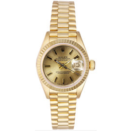 Rolex President 18K Yellow Gold Fluted Champagne Index Dial Women's Watch