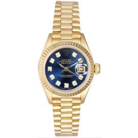 Rolex President 18K Yellow Gold Fluted Custom Blue Diamond Dial Women's Watch