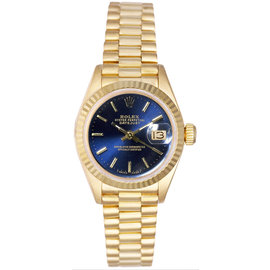 Rolex President 18K Yellow Gold Fluted Blue Index Dial Women's Watch