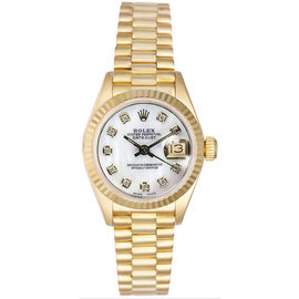 Rolex President 18K Yellow Gold Fluted Custom Mother of Pearl Diamond Dial Women's Watch