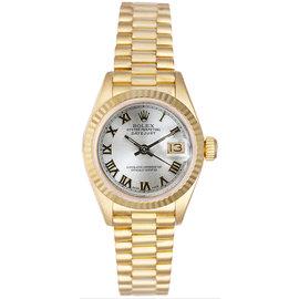 Rolex President 18K Yellow Gold Fluted Silver Roman Dial Women's Watch
