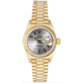 Rolex President 18K Yellow Gold Fluted Silver Index Dial Women's Watch