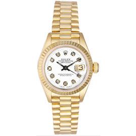 Rolex President 18K Yellow Gold Fluted Custom White Diamond Dial Womens Watch