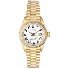 Rolex President 18K Yellow Gold Fluted White Roman Dial Women's Watch