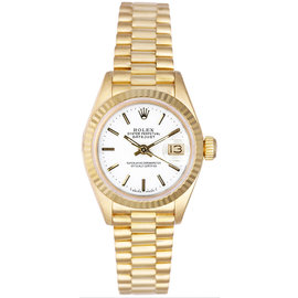 Rolex President 18K Yellow Gold Fluted White Index Dial Women's Watch