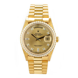 Rolex President Yellow Gold Custom Diamond Bezel & Champagne Diamond Dial Watch