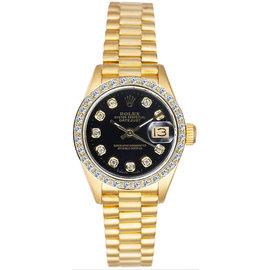 Rolex President 18K Yellow Gold Custom Diamond Bezel & Black Diamond Dial Women's Watch