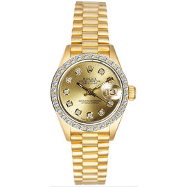 Rolex President Yellow Gold Custom Diamond Bezel & Champagne Diamond Dial Women's Watch