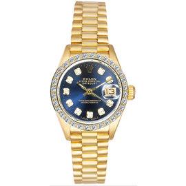 Rolex President 18K Yellow Gold Custom Diamond Bezel & Blue Diamond Dial Women's Watch