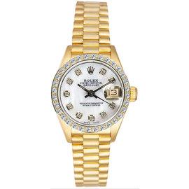 Rolex President 18K Yellow Gold Custom Diamond Bezel & Mother of Pearl Diamond Dial Women's Watch