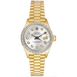 Rolex President 18K Yellow Gold Custom Diamond Bezel & Silver Diamond Dial Women's Watch