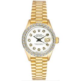 Rolex President 18K Yellow Gold Custom Diamond Bezel & White Diamond Dial Women's Watch