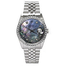 Rolex Datejust Stainless Steel Custom Diamond Bezel & Dark Mother of Pearl Diamond Dial Mens Watch