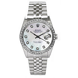 Rolex Datejust Stainless Steel Custom Diamond Bezel & Mother of Pearl Diamond Dial Mens Watch