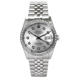 Rolex Datejust Stainless Steel Custom Diamond Bezel & Silver Diamond Dial Mens Watch