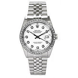 Rolex Datejust Stainless Steel Custom Diamond Bezel & White Diamond Dial Mens Watch