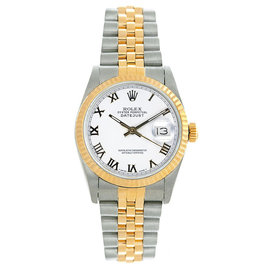 Rolex Datejust Midsize Two Tone Fluted White Roman Dial Women's Watch