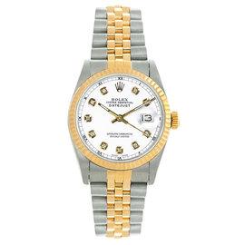 Rolex Datejust Midsize Two Tone Fluted Custom White Diamond Dial Women's Watch
