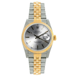 Rolex Datejust Midsize Two Tone Fluted Silver Index Dial Women's Watch