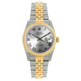 Rolex Datejust Midsize Two Tone Fluted Silver Roman Dial Women's Watch