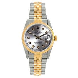Rolex Datejust Midsize Two Tone Fluted Custom Silver Diamond Dial Women's Watch
