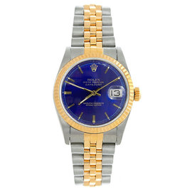 Rolex Datejust Midsize Two Tone Fluted Blue Index Dial Women's Watch