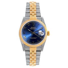 Rolex Datejust Midsize Two Tone Fluted Blue Roman Dial Women's Watch