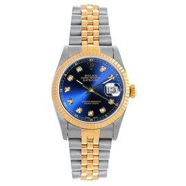 Rolex Datejust Midsize Two Tone Fluted Custom Blue Diamond Dial Women's Watch