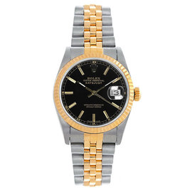 Rolex Datejust Midsize Two Tone Fluted Black Index Dial Women's Watch