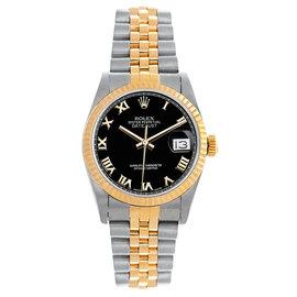 Rolex Datejust Midsize Two Tone Fluted Black Roman Dial Women's Watch