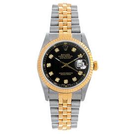 Rolex Datejust Midsize Two Tone Fluted Custom Black Diamond Dial Women's Watch