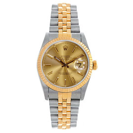 Rolex Datejust Midsize Two Tone Fluted Champagne Index Dial Women's Watch