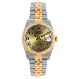 Rolex Datejust Midsize Two Tone Fluted Champagne Roman Dial Women's Watch