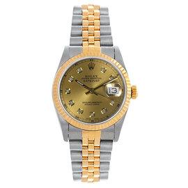 Rolex Datejust Midsize Two Tone Fluted Custom Champagne Diamond Dial Women's Watch