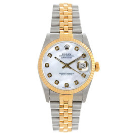 Rolex Datejust Midsize Two Tone Fluted Custom Mother of Pearl Dial Women's Watch