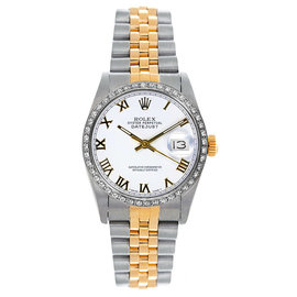 Rolex Datejust Midsize Two Tone Custom Diamond Bezel White Roman Dial Women's Watch