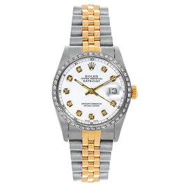 Rolex Datejust Midsize Two Tone Custom Diamond Bezel White Diamond Dial Women's Watch