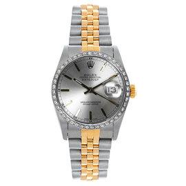 Rolex Datejust Midsize Two Tone Custom Diamond Bezel Silver Index Dial Women's Watch