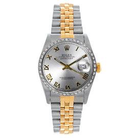 Rolex Datejust Midsize Two Tone Custom Diamond Bezel Silver Roman Dial Women's Watch
