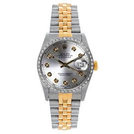Rolex Datejust Midsize Two Tone Custom Diamond Bezel Silver Diamond Dial Women's Watch