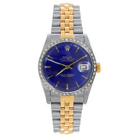 Rolex Datejust Midsize Two Tone Custom Diamond Bezel Blue Index Dial Women's Watch