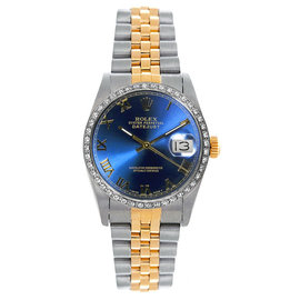 Rolex Datejust Midsize Two Tone Custom Diamond Bezel Blue Roman Dial Women's Watch