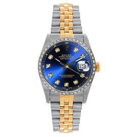 Rolex Datejust Midsize Two Tone Custom Diamond Bezel Blue Diamond Dial Women's Watch