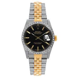 Rolex Datejust Midsize Two Tone Custom Diamond Bezel Black Index Dial Women's Watch