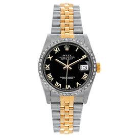 Rolex Datejust Midsize Two Tone Custom Diamond Bezel Black Roman Dial Women's Watch
