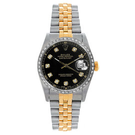 Rolex Datejust Two Tone Custom Diamond Bezel Black Diamond Dial Women's Watch