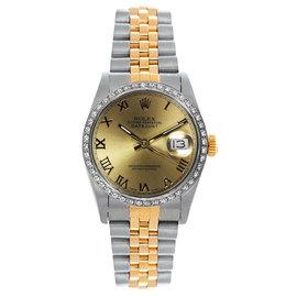 Rolex Datejust Two Tone Custom Diamond Bezel Champagne Roman Dial Women's Watch