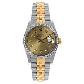 Rolex Datejust Two Tone Custom Diamond Bezel Champagne Diamond Dial Women's Watch