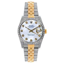 Rolex Datejust Two Tone Custom Diamond Bezel Mother of Pearl Dial Women's Watch